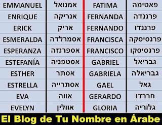 Nombres en Hebreo ESTRELLA EVA EVELYN FATIMA