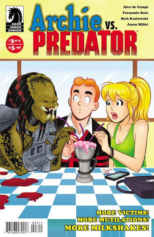 Archie vs. Predator: Writer: Alex de Campi Penciller: Fernando Ruiz Inker: Rich Koslowski Colorist: Jason Millet Letters: John Workman.  Archie et al. created by Bob Montana Predator created by Jim Thomas, John Thomas, Stan Winston.