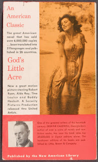 "A cover for ""God's Little Acre,"" featuring a photograph of a woman standing in water. The image is blocked in by an author biography and positive descriptions of the text."