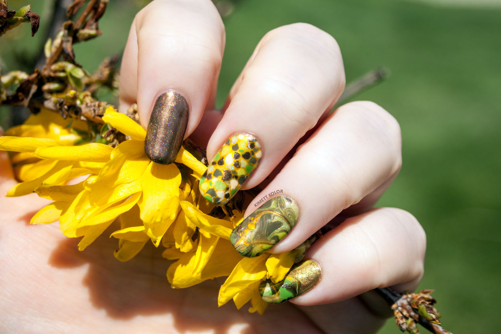 Kimett Kolor nail art skittlette green brown and gold