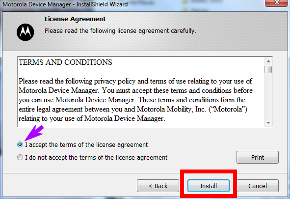 Motorola Device Manager Installation Step 4