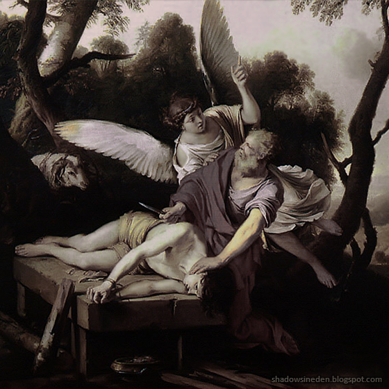 Abraham's near-sacrifice of his son, Isaac, God sends an angel to prevent the killing.