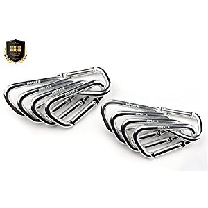 "10PCS Aluminum Carabiner Clip 2 inch (2"")/5 cm - Durable D Shape Carabiner for Home RV Camping Fishing Hiking Traveling Backpack and Keychain - Gift for dad - child - adult."