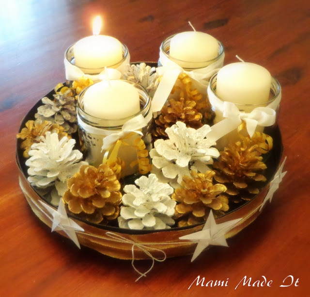 Adventkranz - DIY mit Kerzen im Glas, Bänder und Zapfen - Adventwreath DIY with candles in jars, ribbons and cones