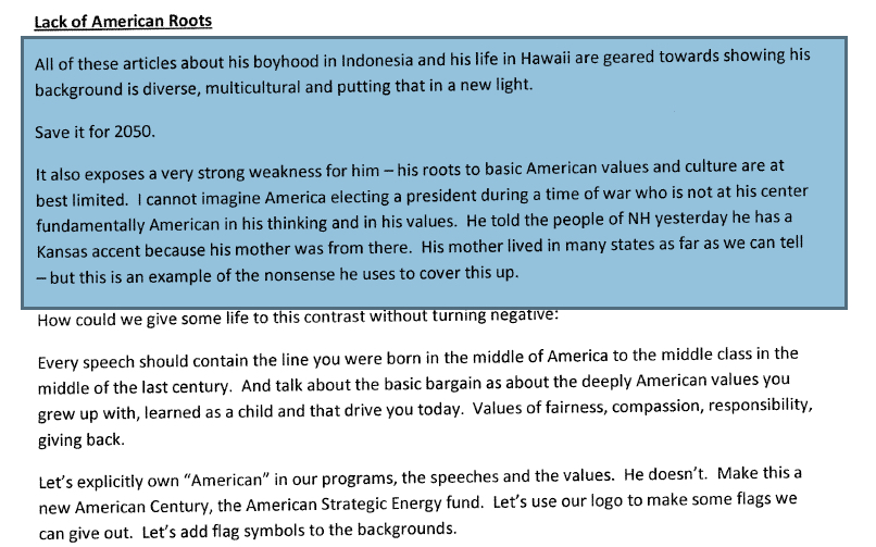 TRUE BORN SONS OF LIBERTY Mark Penn strategy memo from 2007 shows