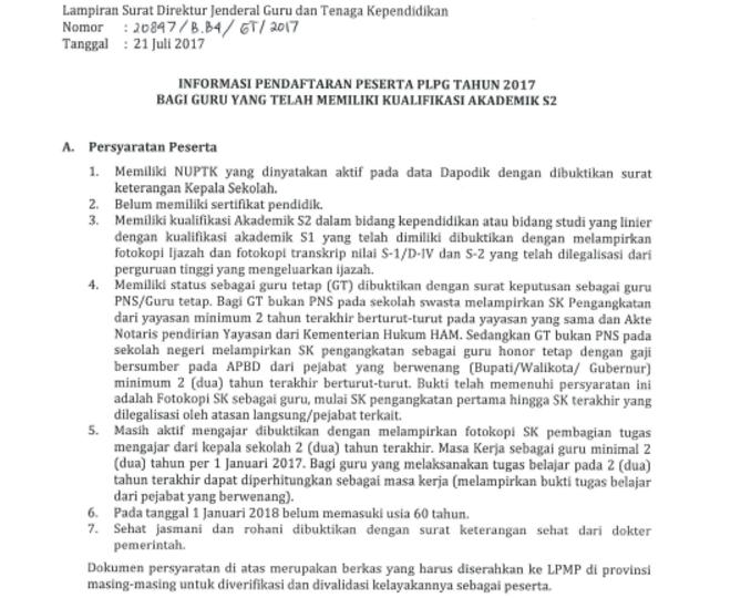 Persyaratan Pendaftaran PLPG S2 Jalur Akademik