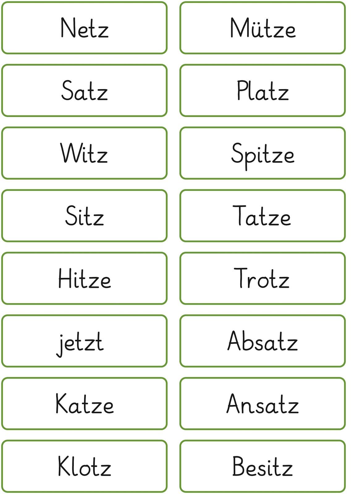 Lernstübchen: Wörter mit tz oder z