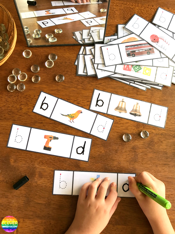How To Fix b + d Letter Reversals - use these FREE printable cards to practice differentiating between the letter b and d | you clever monkey