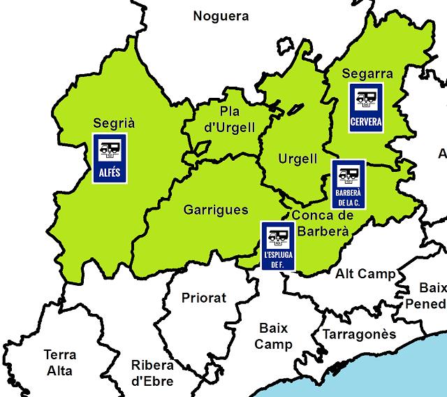 Mapa de les àrees d'autocaravanes de les Terres de Ponent (Lleida)