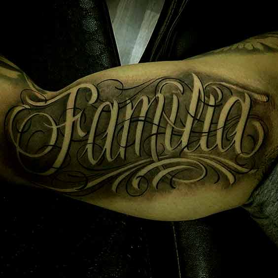 Family Tattoo Design On Inner Bicep Ideas For Boys
