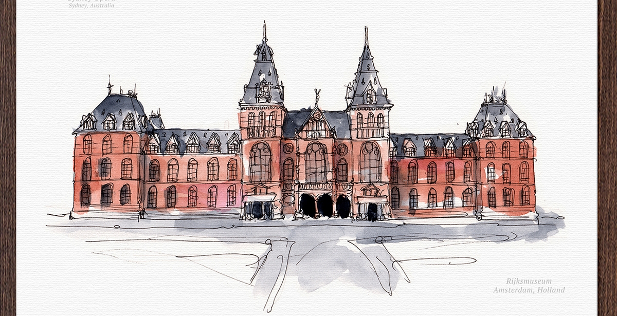 15-Rijks-Museum-Holland-Mucahit-Gayiran-Architectural-Landmarks-Watercolor-Paintings-www-designstack-co