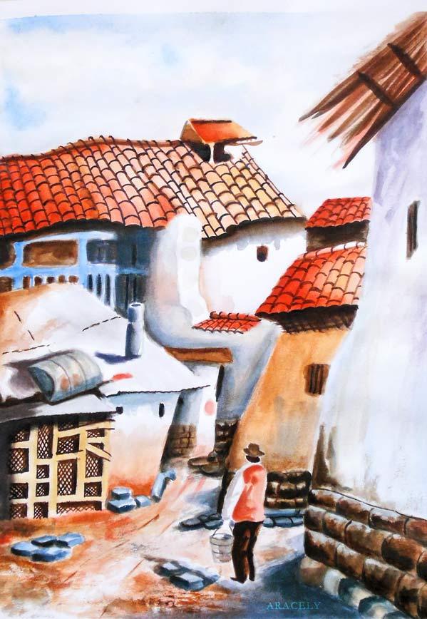 Pintura acuarela paso a paso paisaje rural