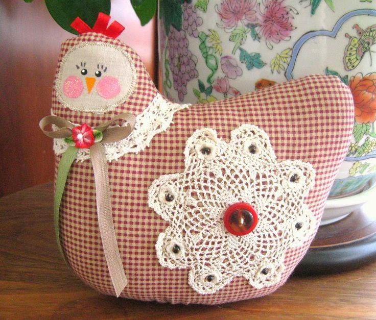 Galinha Decorativas feitas de tecido