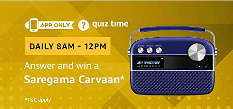 Amazon Quiz 9 February 2019 Answers – Win Saregama Carvaan
