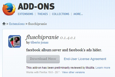 Facebook fluschipranie  firefox add on