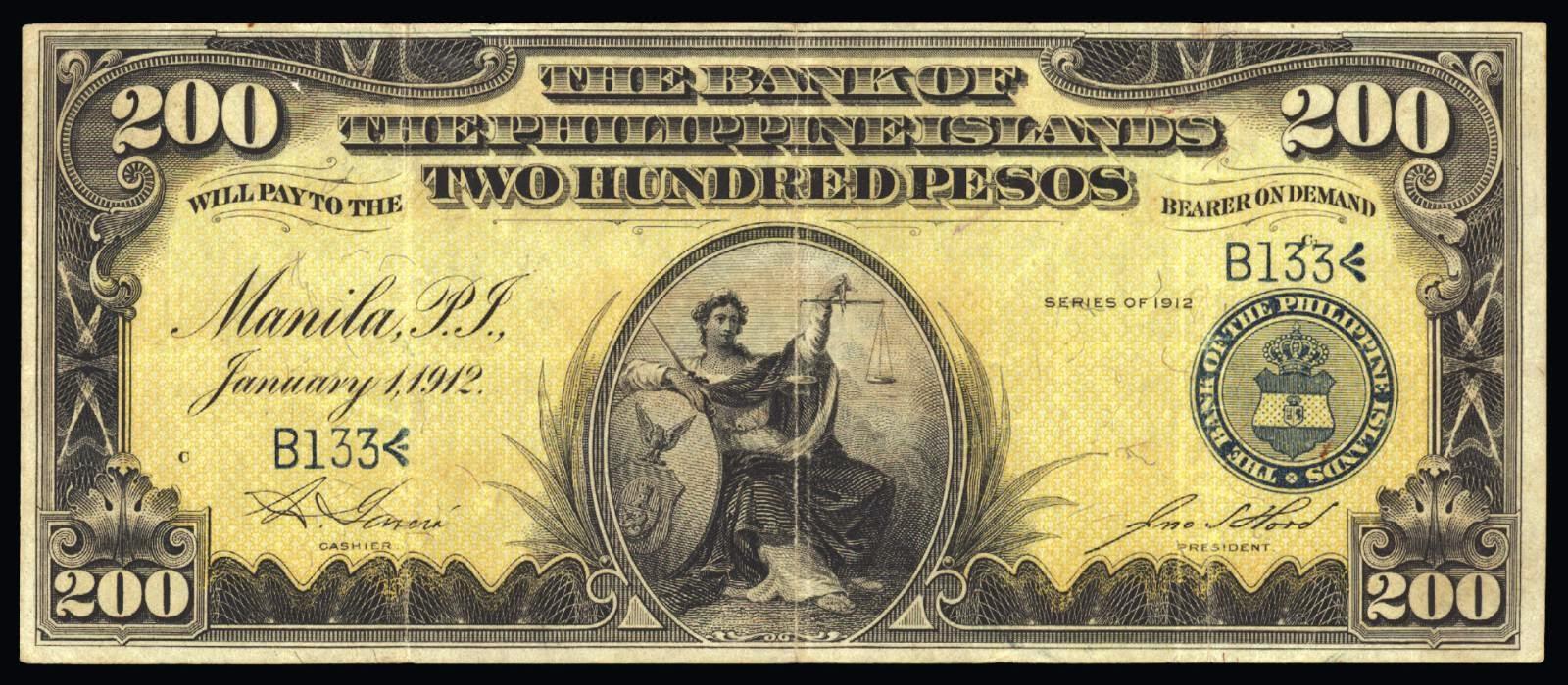 200 Pesos Philippine Bank Note 1912