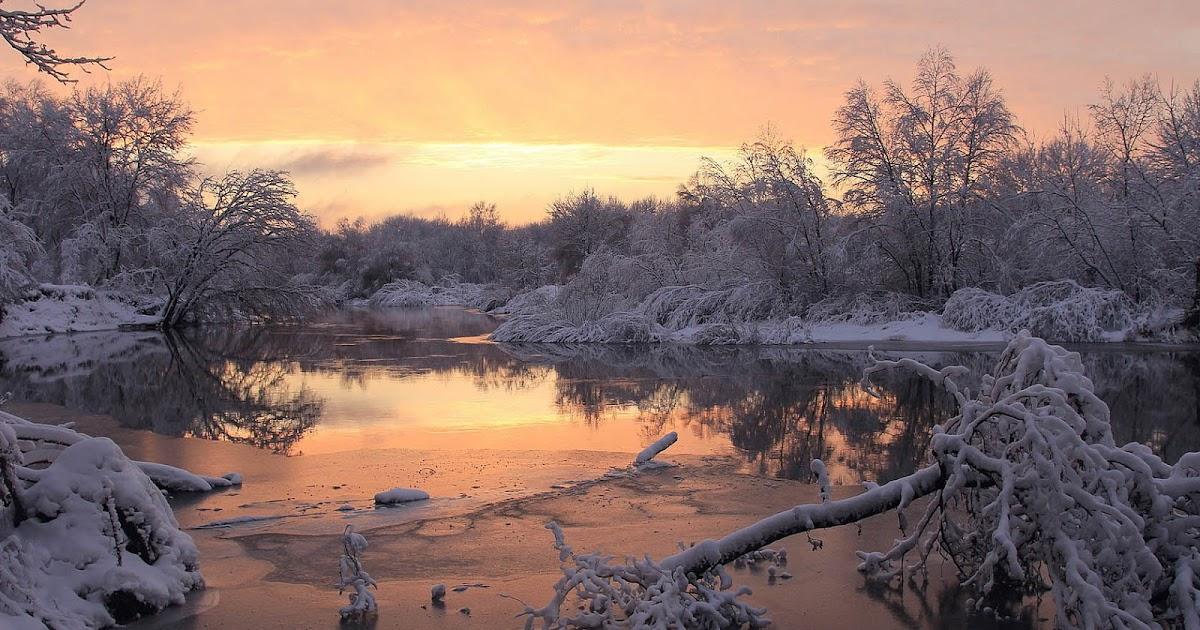 Achtergrond met een winterlandschap  Bureaublad Achtergronden