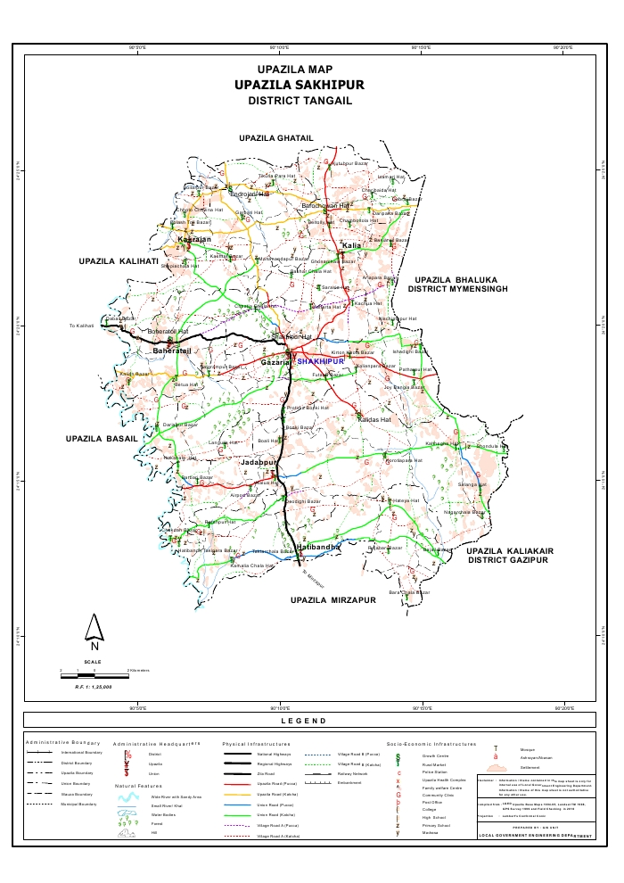 Sakhipur Upazila Map Tangail District Bangladesh