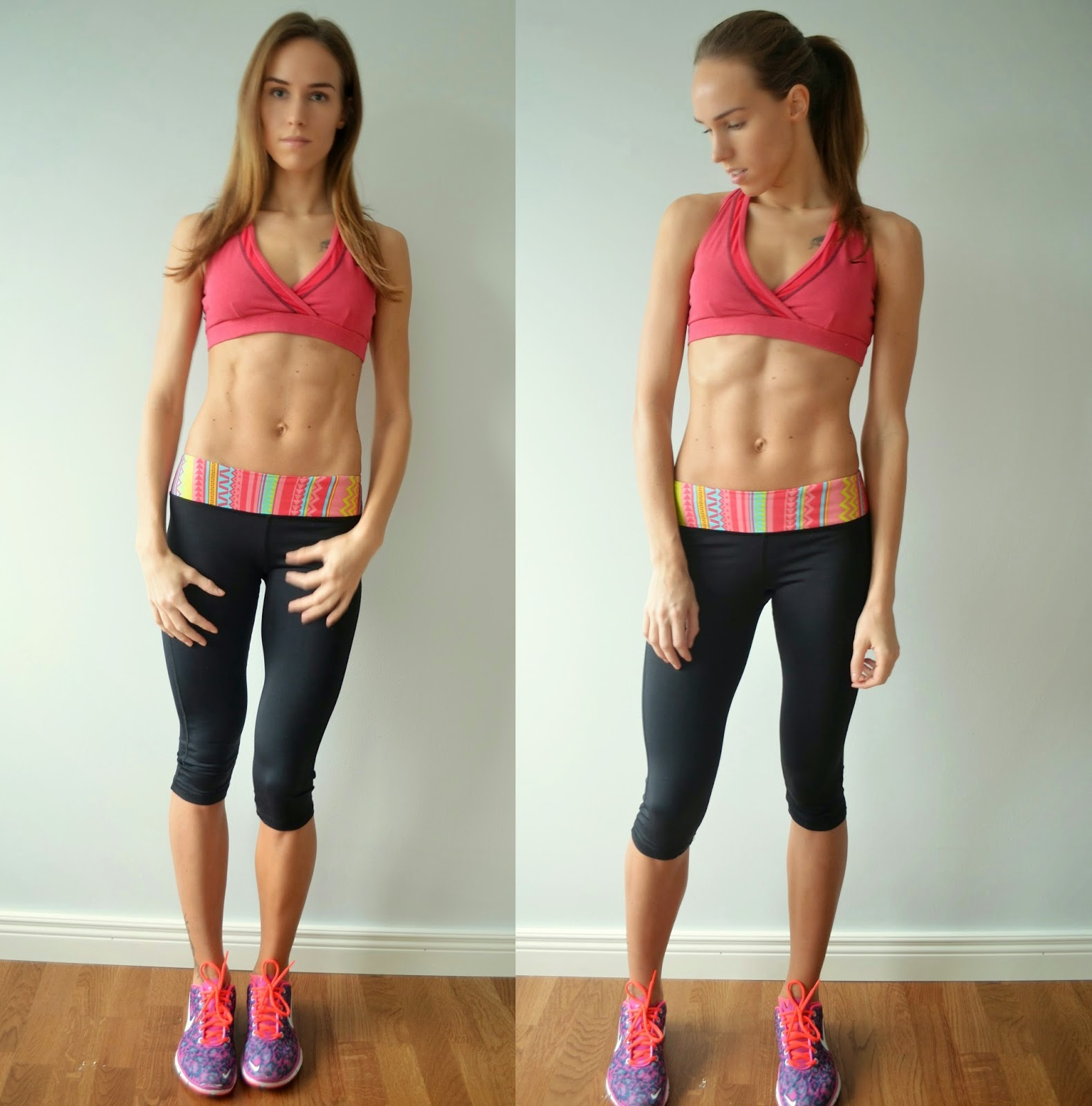abs bikini body fitness model pink nike sports bra