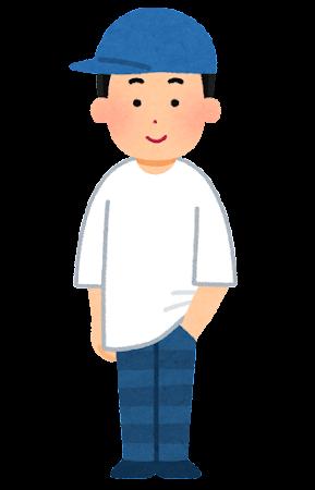 大きなサイズの服を着た人のイラスト(男性)