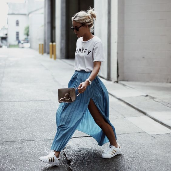 Happily Grey Blue Maxi Skirt Chloe Bag Adidas Sneakers