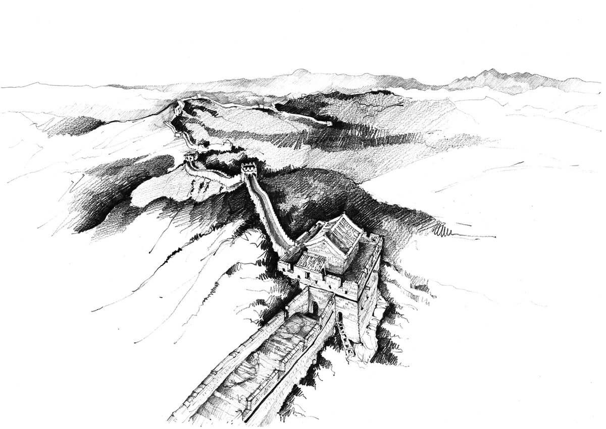 08-Great-Wall-of-China-Adelina-Popescu-Architecture-Drawings-and-Interior-Design-www-designstack-co