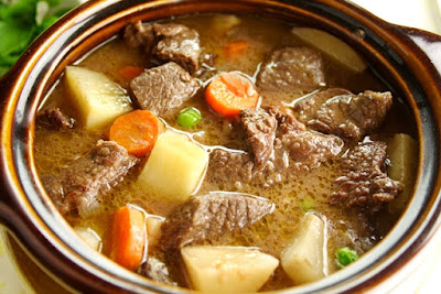 There is nothing like a hearty beef stew in the dead of winter. It warms up a cold February day, even a work day when you can throw it into a slow cooker! This recipe has variations on ingredients (see the end of the recipe) and works well with homemade drop biscuits OR place the biscuit dough on top of the stew for the last 30 minutes.