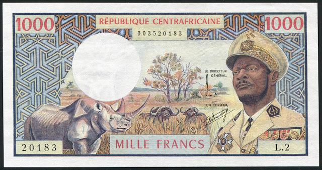 CFA franc African currency 1000 francs Bokassa banknote