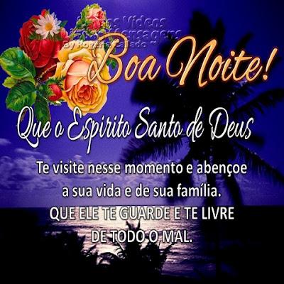 Boa Noite! Que o Espírito Santo de Deus Te visite nesse momento e abençoe a sua vida e de sua família. QUE ELE TE GUARDE E TE LIVRE  DE TODO O MAL.