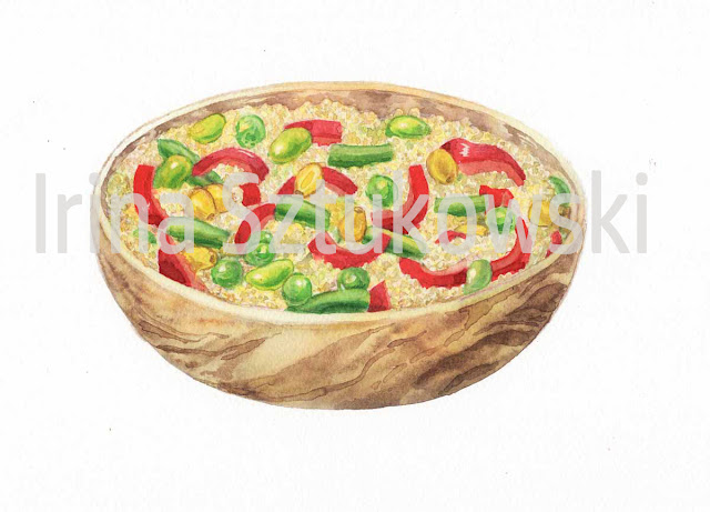 painting of Couscous in wooden bowl by artist Irina Sztukowski