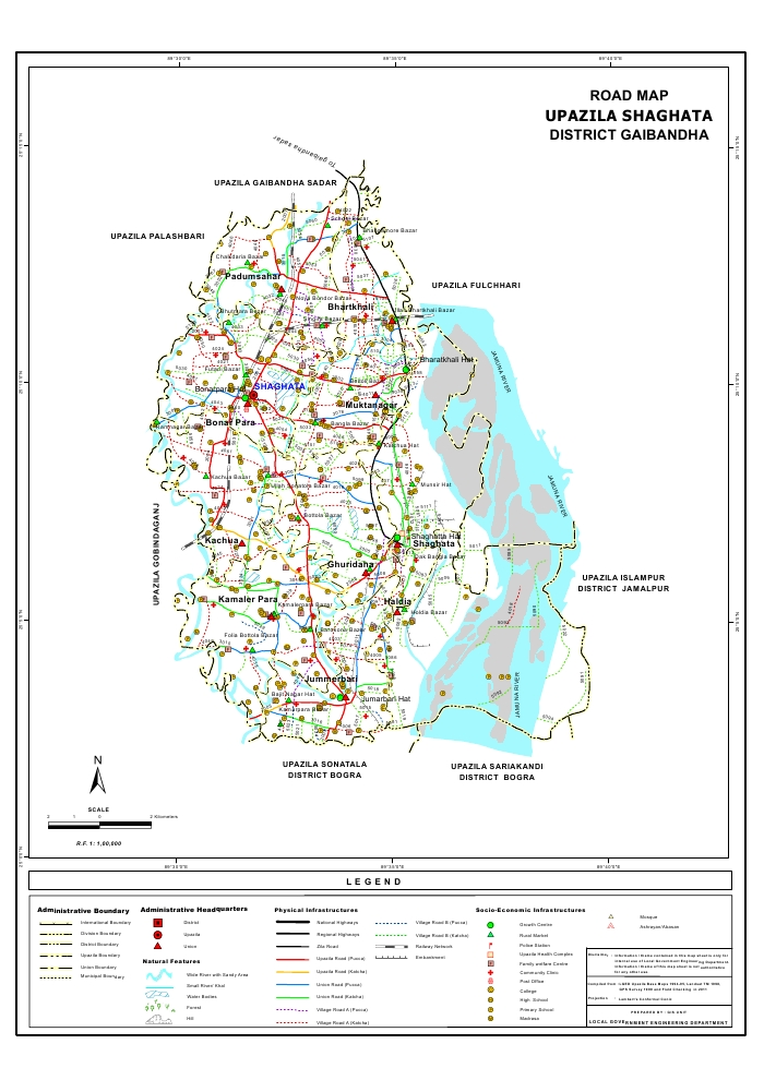 Saghata Upazila Road Map Gaibandha District Bangladesh