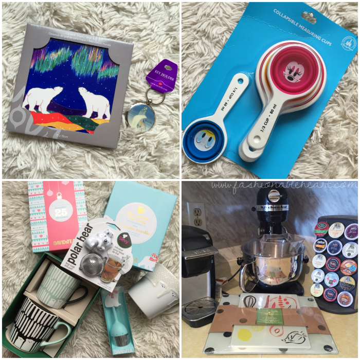 bbloggers, bbloggerca, canadian beauty bloggers, what i got for christmas, 2016, gifts, handpainted, polar bears, trivet, keychain, disney collapsible measuring cups, davidstea, tea infuser, starbucks, polar bear mug, kitchenaid mixer, kate spade, food prep boards
