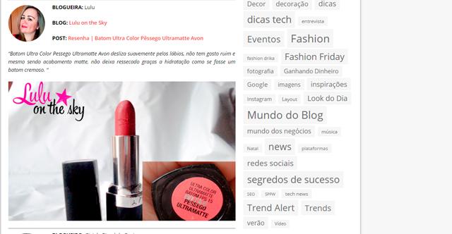 Blog Lulu on the Sky é um dos selecionados Top Blogs da Semana do CBBlogers