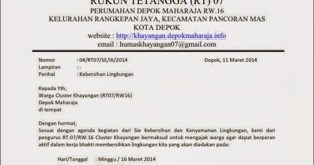 Contoh Surat Kebersihan Lingkungan Semua Contoh