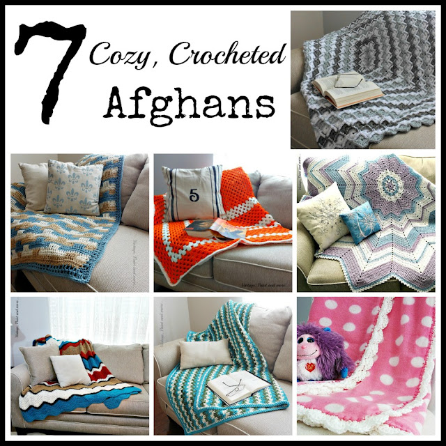 Vintage, Paint and more... 7 crocheted afghans that can custimized for your own decor or for gifts