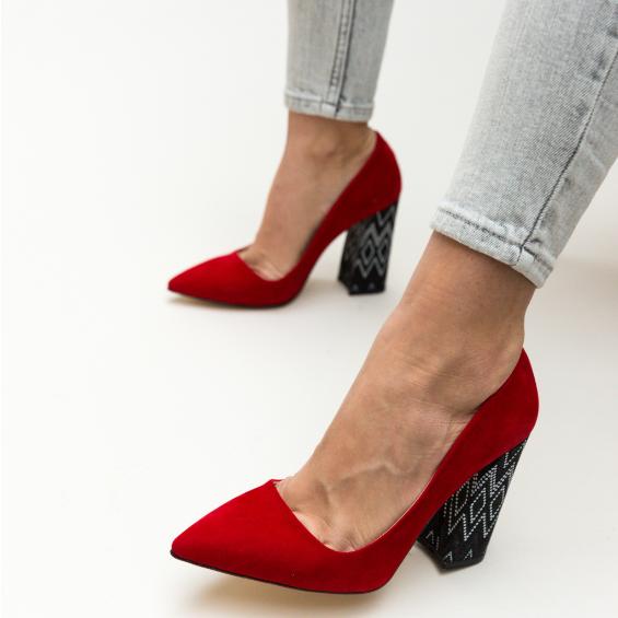 Pantofi rosii eleganti din piele intoarsa eco de zi cu tocul gros cu imprimeu