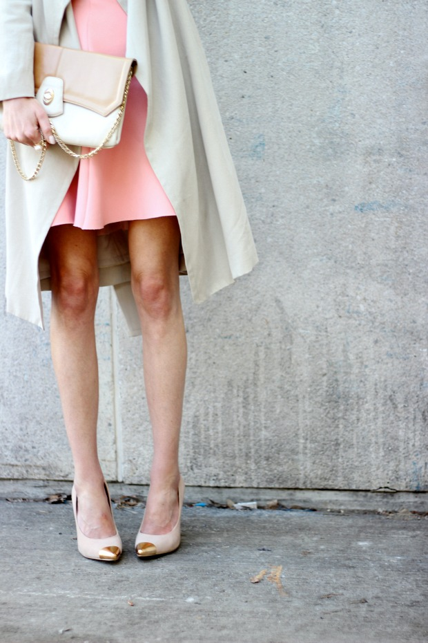 Club Monaco trench, Pink Zara skirt, Nude heels, vintage nude bag