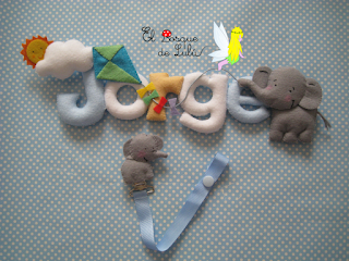 nombre-fieltro-elbosquedelulu-felt-name-elefante-decoración-regalo-nacimiento-Jorge-name-banner-feltro-chupetero-personalizado