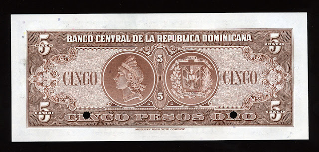 money currency 5 Dominican Pesos banknote