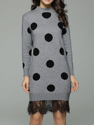 Sweater dresses trend - Polka Dots Casual Long Sleeve Sweater Dress from ADOREALIA - Price:$63.00