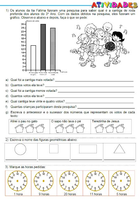Atividades - Gráfico, Figuras planas, Hora, Real e Material dourado - página 1
