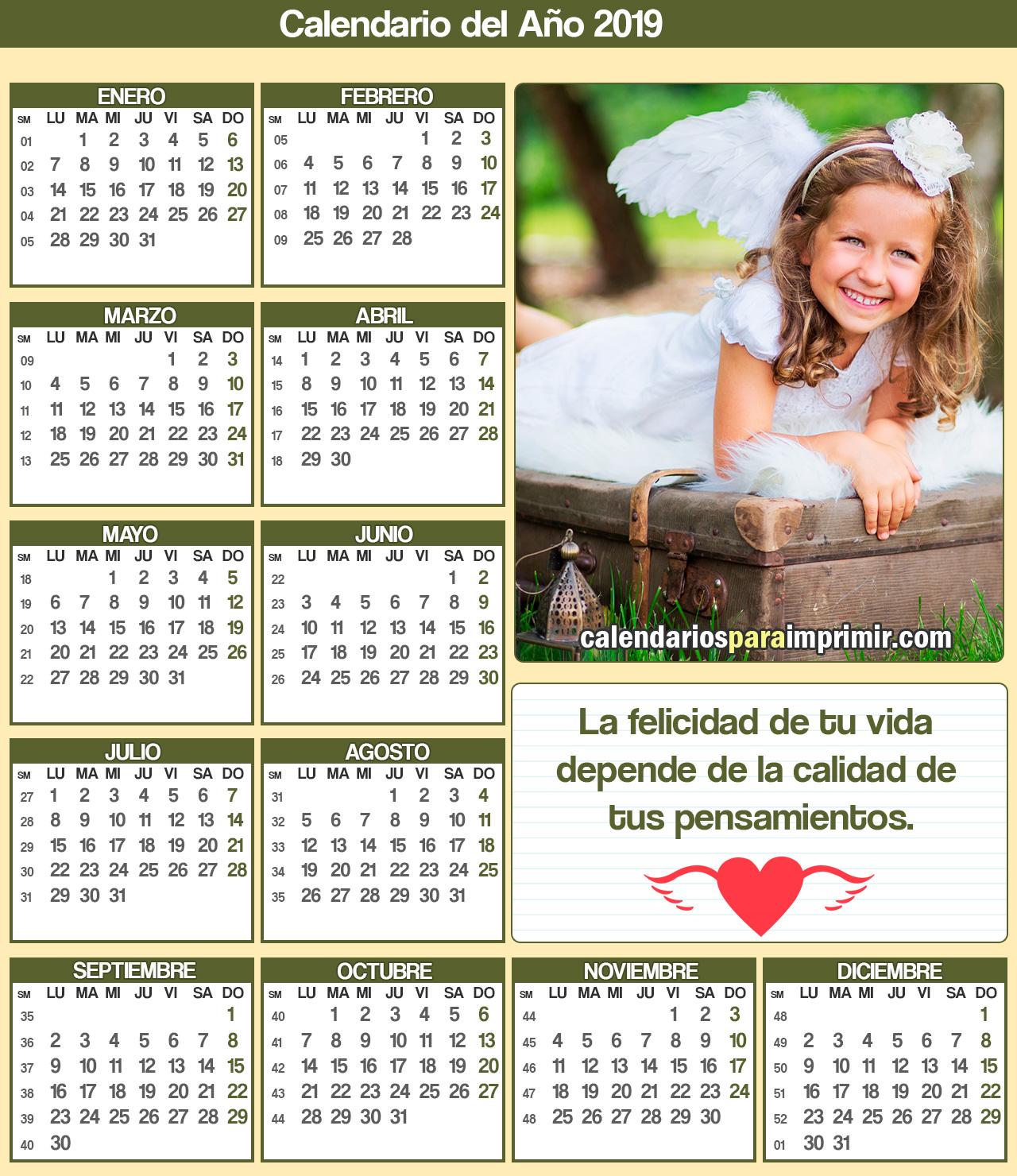 calendarios 2019 frases de felicidad
