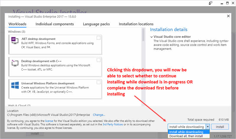 Visual Studio 2017 now offers the option to download all