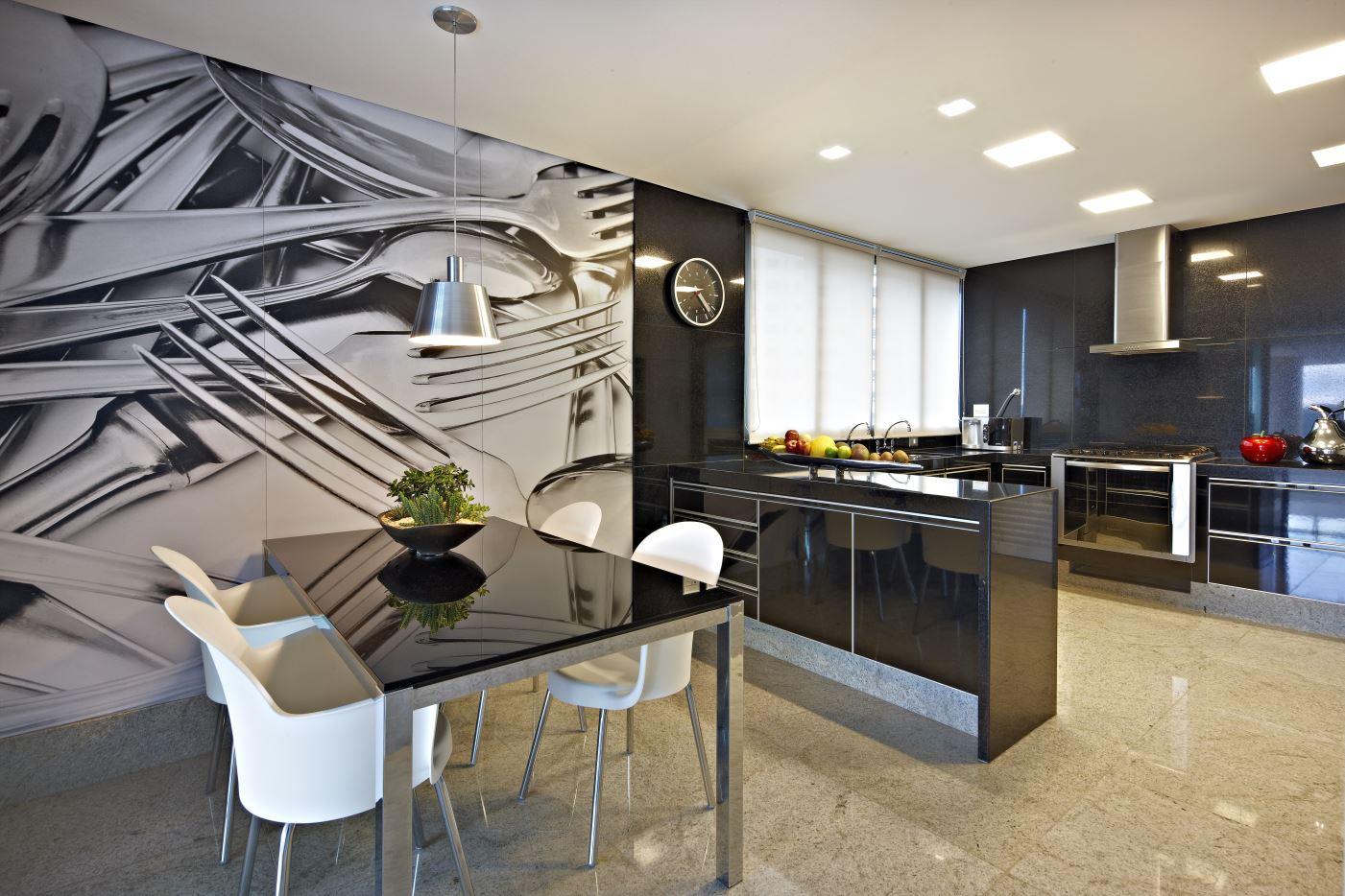 Cozinhas com imagens em 3d revestindo e decorando as paredes! Decor  #7E6E4D 1401 934