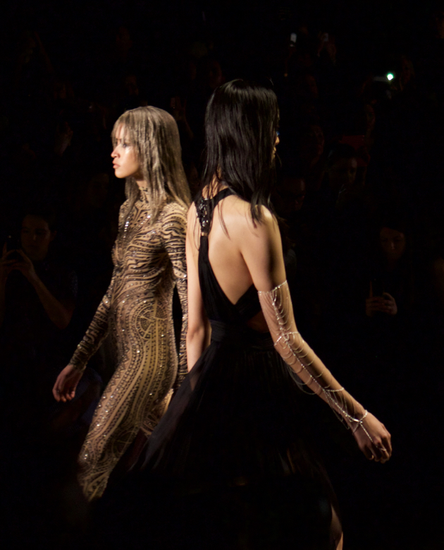 runway, tattoo inspired bodysuit and black gown with Sequin Jewelry arm chain
