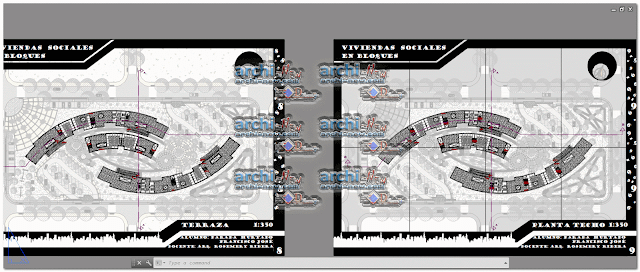 Horizontal projections of the project Of workshop 5 social housing blocks dwg