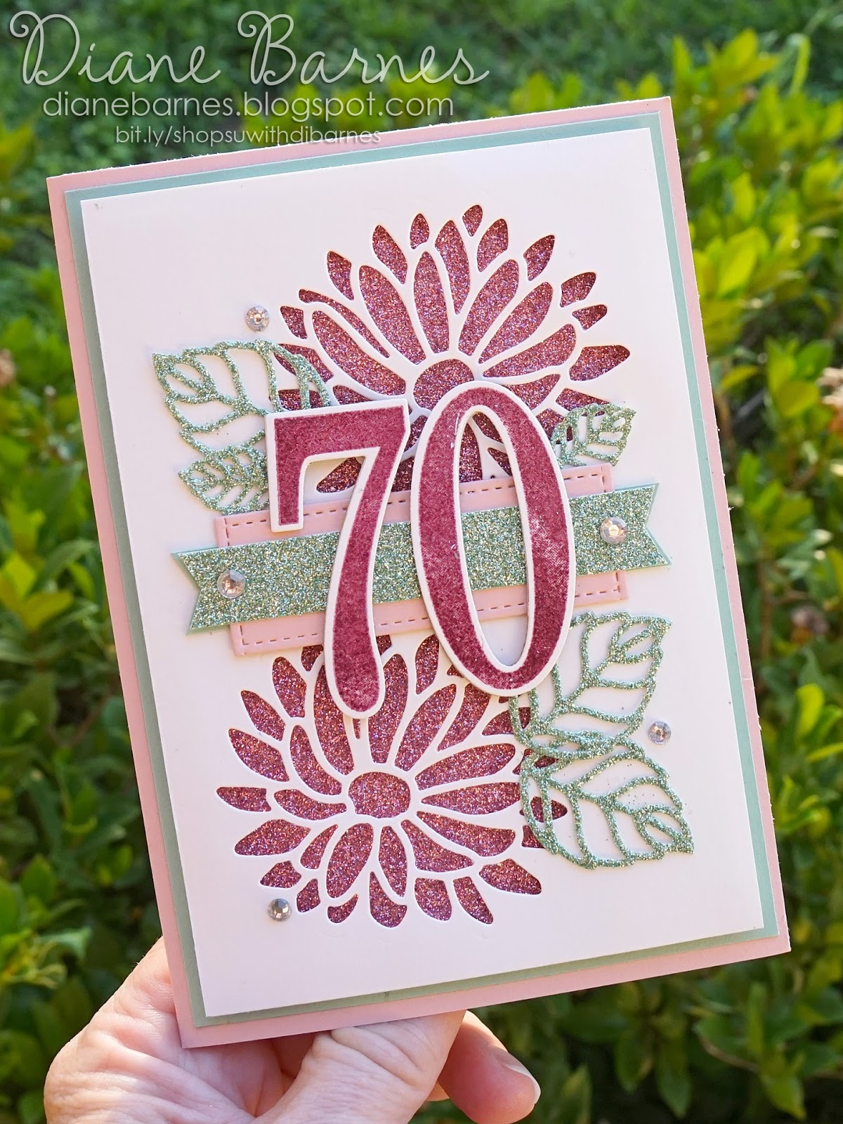 HANDMADE STITCHED  70TH  BIRTHDAY CARD NUMBER  70 WITH FLOWERS