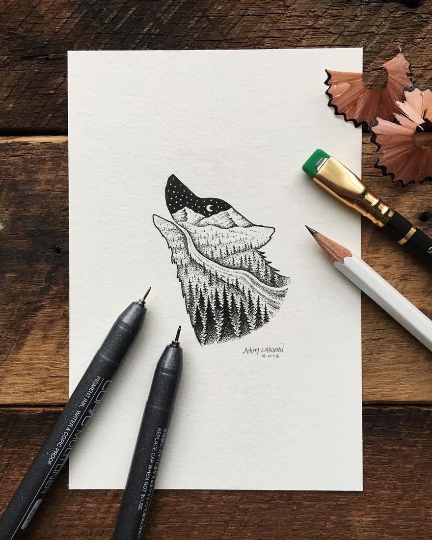 13-Howling-Wolf-Sam-Larson-Injection-of-Inspiration-in-Diverse-Drawings-www-designstack-co