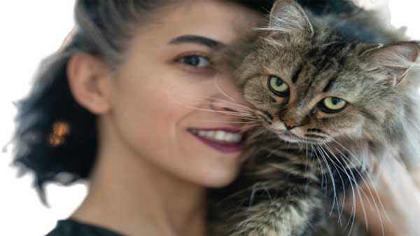 woman and cat