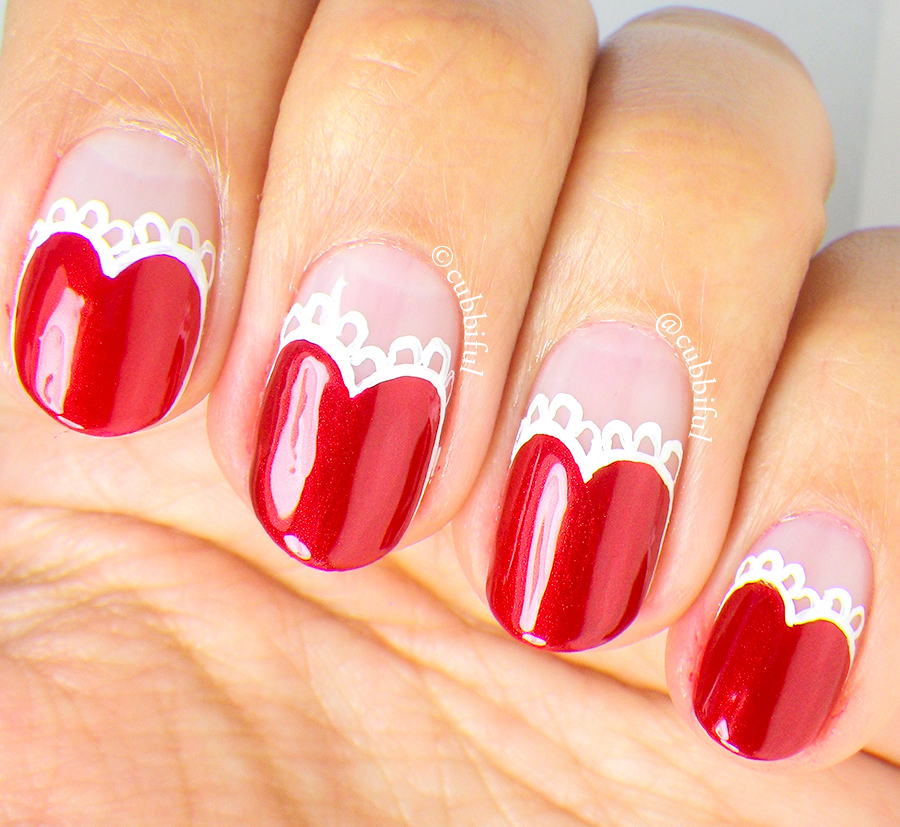 Heart Nail Art: Cubbiful: Lace Heart Nail Art